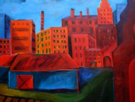 "Down by the RR Tracks 40"" x 30"" (sold) -"