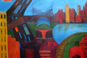 "Crossing the Bridge 36"" x 24"" (sold) -"