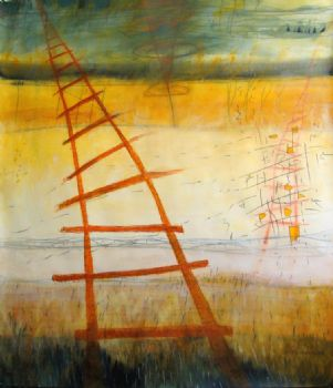 "Red Ladder Day 52"" x 61"" acrylic/graphite -"